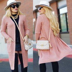 Pink Waffle Cardigan